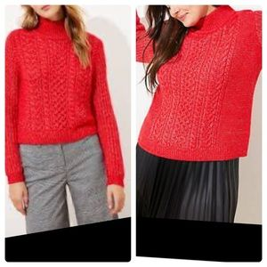 NWT Loft cropped cable knit turtle neck sweater